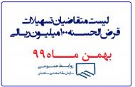 لیست متقاضیان تسهیلات قرض الحسنه 100 میلیون ریالی(بهمن ماه99)